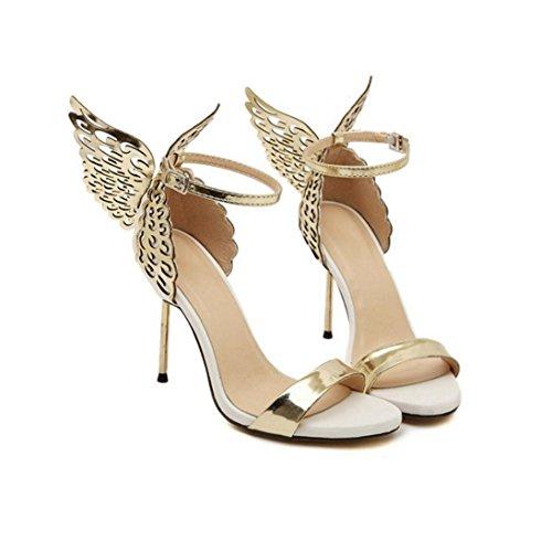 WZG chaussures à bout ouvert ange ailes papillon mot d'acier en trois dimensions boucle fines avec des chaussures à talons hauts sandales neuves gold