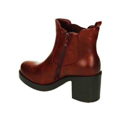 King Of Shoes Damen Stiefeletten Ankle Boots Plateau Stiefel Schuhe 74 Wine 293