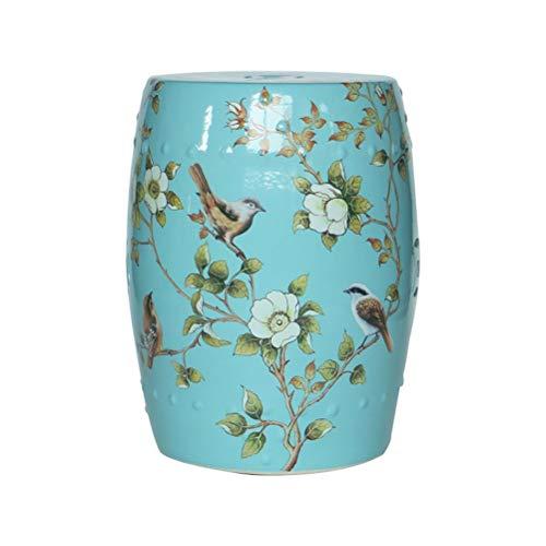 Shoe stool ZI LING Shop- Amerikanischen Land Blume und Vogel Keramik Trommel Hocker Neue Chinesische Hocker Home Kreative Dressing Schuh Bank Möbel (Farbe : A) (Chinesische Trommeln)