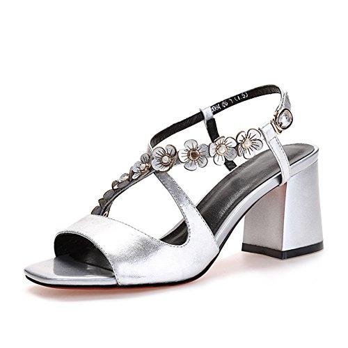 Sommer mit fischmund sandalen/Rough mit dem diamant-blumen-leder high heels A