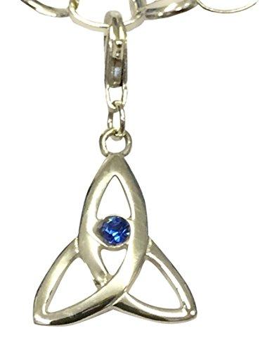 Sterling Silber Celtic Trinity Geburtsstein Clip auf Charm Set mit einem Swarovski Kristall Saphir–September (Girls Clip Auf Charme)
