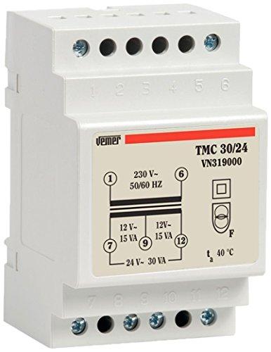 Vemer vn319000Trafo TMC 30/24von Hutschiene für Service kontinuierliche 230V/12-24V Leistung 30VA, lichtgrau