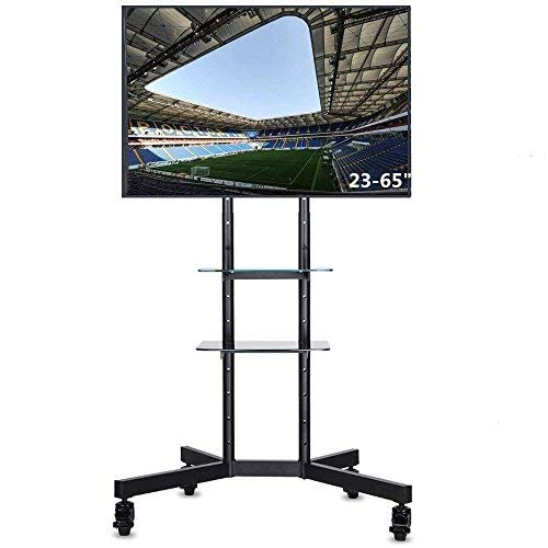 UNHO TV Ständer Universal Mobile TV Wagen Trolley TV Stand Standfuß mit 4 Rollen & 2 Glasablagen für LCD LED Plasma Fernseher 23-65 Zoll max. VESA 600x400mm TV Standhalterung, neigbar höhenverstellbar