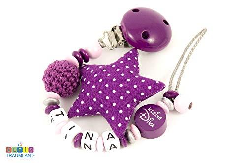 Schnullerkette mit Namen personalisierbar // kleine Diva Stoffstern // rosa violett // Mädchen