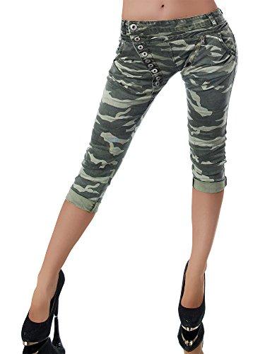 N123 Damen 3/4 Capri Jeans Hose Shorts Damenjeans Hüftjeans Caprijeans Boyfriend, Größen:38 (M), Farben:Camouflage-Olivgrün