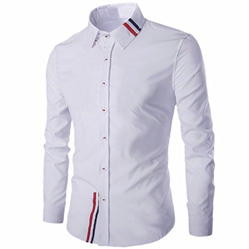 QIYUN.Z Uomini Lungo Il Pulsante Manica Giù Sottile Camicia Di Vestito Camicia Pianura Casuale In Forma Bianco-82