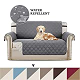BellaHills Sofa Covers 2 Seater Slipcover Protector Sofa Throw, Premium Reversible Loveseat Slipcover, 2' Elastic Strap, Furniture Protector/Slipcovers for Dogs/Cats (Two Seat - Grey/Beige)