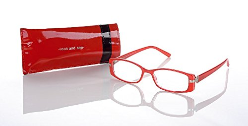 LOOK AND SEE schicke Damen Lesebrille Lesehilfe mit Strass Applikationen rot +1,0 Dioptrien