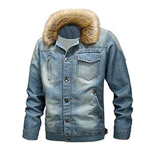 SIRIGOGO Herbst Winter Herren Vintage Mantel Distressed Denim Jacke Tops Oberbekleidung