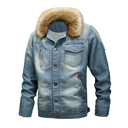 DNOQN Jacke Herren Herbst Winter Vintage Distressed Jeansjacke Tops Mantel Outwear Herren Herbstjacke Lange Winterjacke