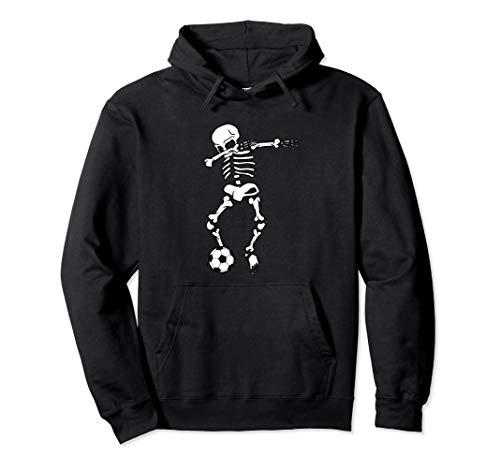 Dabbing Skelett Fußball Dab Tanz Halloween Lazy Kostüm Humor Pullover Hoodie (Tanz Kostüm Hoodie)