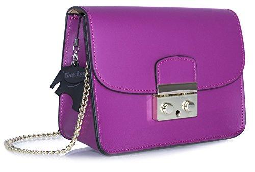 Big Handbag Shop borsa a tracolla piccola, in vera pelle italiana, clutch per feste, matrimoni. Violet