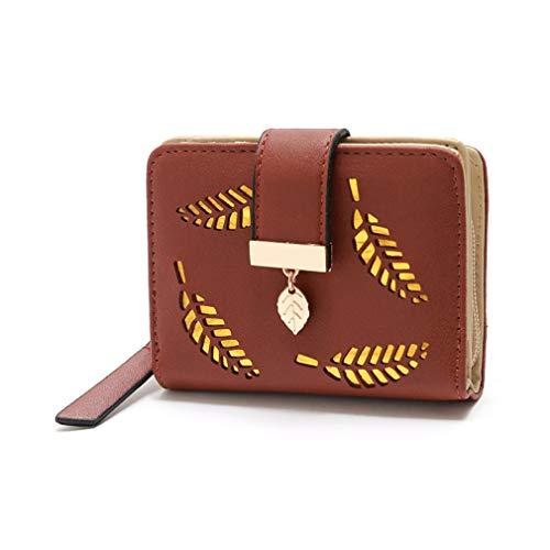 LIXIAQ1 Elegante Kurze Brieftasche hohlen Blatt Reißverschluss Geldbörse Kartenhalter Schnellkupplung Handtasche Multi Taschen PU-Leder Geldbörse, braun -