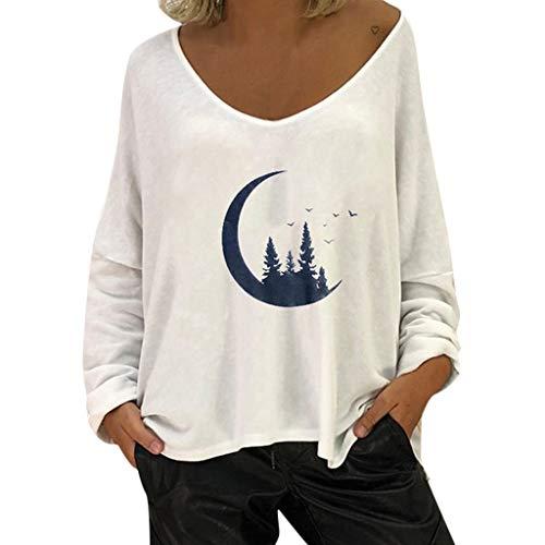 Moonuy Mode FéMinine DéContractéE Impression Col en V à Manches Longues Blouse Tops Brief Confortable Baggy Shirt Pull