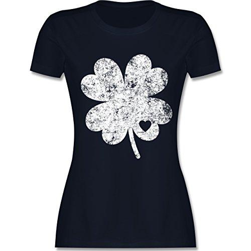 St. Patricks Day - Vintage Kleeblatt mit Herz - L - Navy Blau - L191 - Damen T-Shirt ()