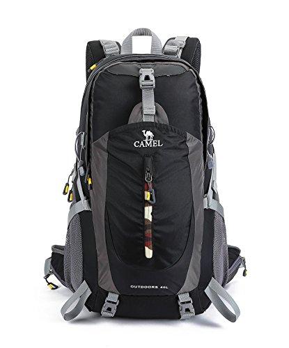 Cammello 40l leggero zaino impermeabile outdoor sports zaino con parapioggia per escursionismo da ciclismo ciclismo arrampicata e caccia, unisex, nero, 40 l
