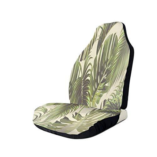 Coprisedili per auto vintage tropicale foglia di palma piano 2 Coprisedili anteriori 100% poliestere Car Decor Coprisedile avvolgente Ultra durevole e resistente allo sporco Protezione per sedili auto