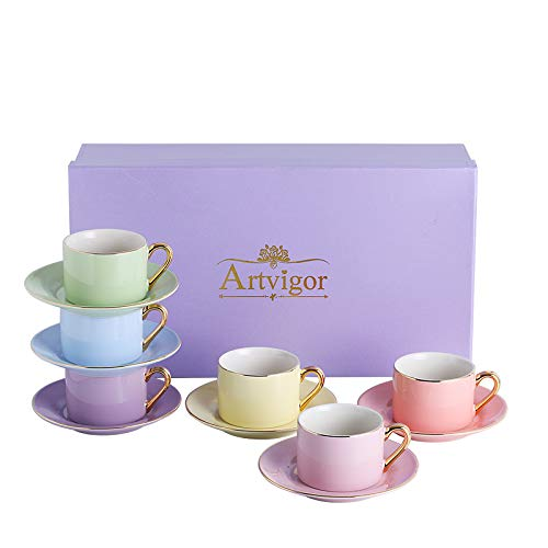 Artvigor Mixed Bright Colors Glazed Porcelain Tea & Coffee Service Set,Porcelain 220ml/7.5oz Coffee Tray and Mug,Service for 6