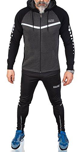 Rock Creek Herren Sportanzug Trainingsanzug Fitness Anzug Hoodie Hose [H-142 Schwarz L]