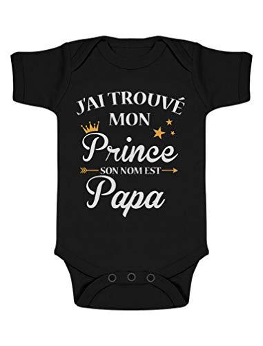 Green Turtle T-Shirts J'Ai trouvé Mon Prince C'est Papa! Cadeau Fête des pères Body Bébé Manche Courte 3-6 Mois Noir