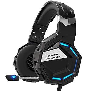 Choukiu Gaming-Headset für Xbox One, PS4, PC, Surround-Sound, Over-Ear-Kopfhörer mit Geräuschunterdrückung, Mikrofon, LED-Licht, Bass-Surround-Sound, weiche Memory-Ohrenschützer schwarz schwarz