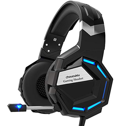 Chououkiu Gaming Headset, Cuffie Gaming Cuffie per Xbox One, PS4, PC, Surround Sound Cuffie con cancellazione del Rumore Mic, LED Luce Bass Surround Morbido paraorecchie Memoria