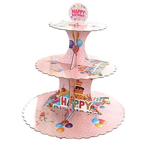 Msyou 3 Etagen Cupcake-ständer Rund Gestapelt Kuchen Muffin Display Lebensmittel Ständer Aus Karton Für Hochzeiten Geburtstag Halloween Weihnachten Party (Pink) (Etage Halloween 3)