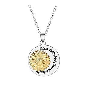 DQANIU Metall Brief Sonnenblume You Are My Sunshine Halskette Geständnis Schmuck Geburtstag/Valentinstag/Muttertagsgeschenk/für Frauen und Mädchen