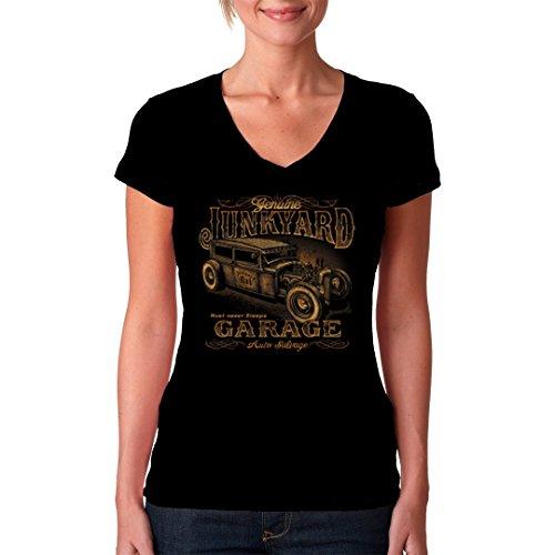 Hot Rod Girlie V-Neck Shirt - Hot Rod Motiv: Junk Yard Garage Rust never sleeps by Im-Shirt Schwarz