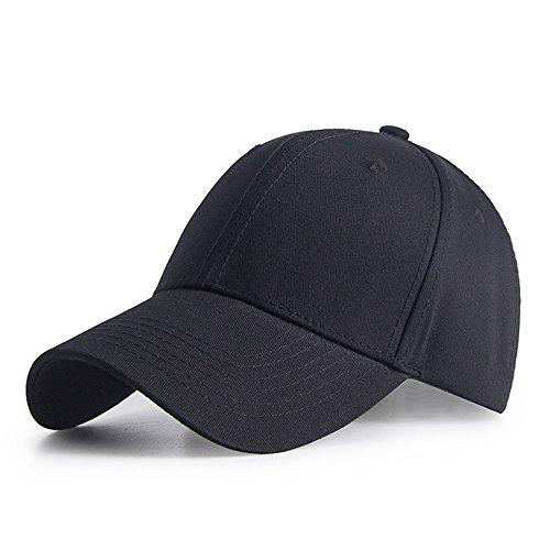 IKuaFly Baseball Cap,6 Panel Snapback Kappe für Herren Damen Cotton Basecap Trucker Cap (schwarz) (Plain Baseball Cap Schwarz)