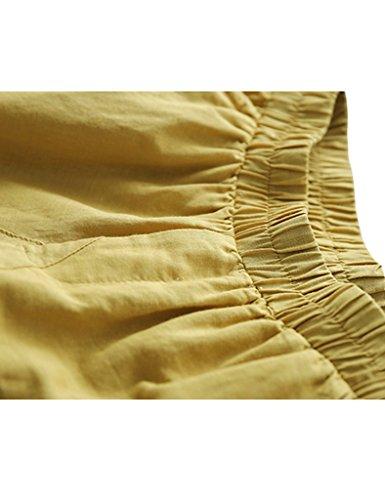 Youlee Donna Estate Vita Elastica Biancheria Pantaloni Harem Giallo