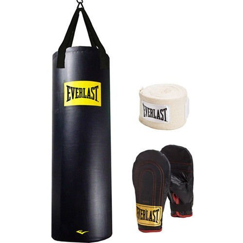 Everlast Heavy Bag Kit 100 lb Pound Punching Boxing Bag Gloves Hand Wraps NEW by Everlast