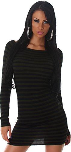 Jela London signore vestito mini manica lunga collo del vestito da sera del vestito da partito del vestito da cocktail cocktail vestito maglia fine 38,40,42,44. Oliv Verde Nero