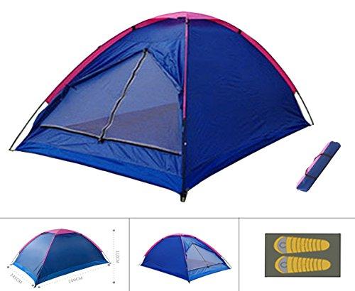 PZJ® Tent Dome, Tentes de camping à double couche à l'extérieur, 2-3 Personnes, Grande Instantanées Tentes Anti UV 4 Places de Camping Plage Randonnée Familiale Exterieur avec Moustiquaire , tente familiale Durable étanche en aluminium...