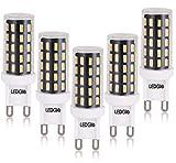 LEDGLE 6W G9 LED Lampen, ersetzt 60W Halogenlampen, Flimmern Nicht/Warm Weiß/Nicht Dimmbar/54 LEDS/420LM/2800K, 5Pcs