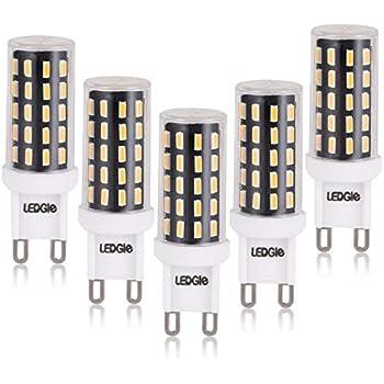 LEDGLE G9 Bombillas LED de 6W No Regulable, 54 Chips LED 420lm Blanco Cálido 2800K, 60W Bombilla Halógena Equivalente
