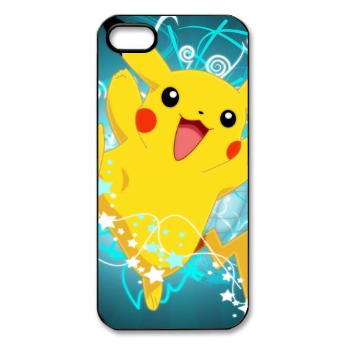 iPhone 5S Case, iPhone 5. Pokemon Pikachu de Apple iPhone 5/iPhone 5S Case Coque de protection Case TPU Étui Coque de Protection pour iPhone 5 5S (Blanc/Noir)