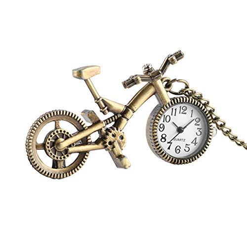 aa&runfa Taschenuhren Mini Nette Fahrrad Form Taschenuhr für Kinder Mädchen Jungen Uhren mit Halskette Anhänger Quarz Geschenke, A