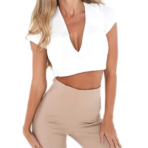 LILLIOT Damen Fliege Spitze Ausschnitt Navel Solid Color V-Ausschnitt Kurzarm T-Shirt Damen sexy langärmliges Hemd Brief Rundhalsausschnitt Schlangenmuster kurzes Nabel-Shirt T-Shirt -