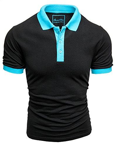 (Amaci&Sons Herren Poloshirt Basic Kontrast Kragen Kurzarm Polohemd T-Shirt 5104 Schwarz/Türkis 3XL)
