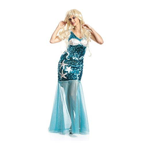 Kostüm Meerjungfrau Damen Kleine (Kostümplanet® Meerjungfrauen-Kostüm Damen Kostüm Nixe Mermaid Pailetten blau Karnevals-Kostüm Erwachsene Größe)