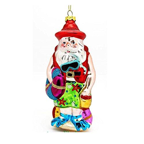 DIVER Santa am Strand Mundgeblasenes Glas Weihnachten Ornament (Strand Santa Ornament)