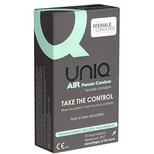 AirFemale- Preservativi da donna senza lattice, realizzati in resina AT-10; in confezione da 3
