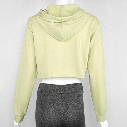 Malloom Pull De Sport Tops Femmes Capuche Pull Crop Top Coat Sweatshirt Kaki