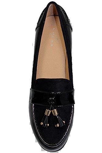 Fantasia Boutique flc009 VERVE femme - Fausse DAIM VERNI Mocassins à glands talon bas chaussures plates Noir