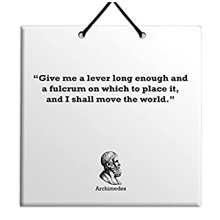 Archimedes - Quote Ceramic Wall Hanging Plaque TILE Home Decor Gift Sign