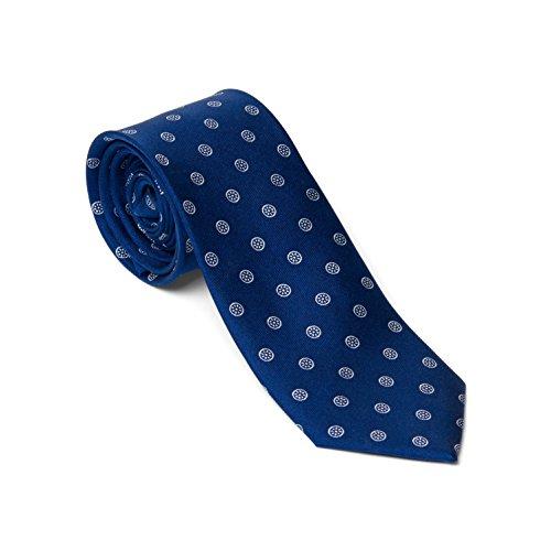 Hochwertige Krawatte 100% Seide – 6,5cm breit – mit Paris Muster – Blau, Dunkelblau – schmale Business Krawatte – Schlips für Herren von VON - Weiße Männer Dinner-jacket Die