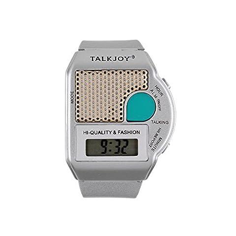 Sprechende Armbanduhr SILBER Uhr Wecker Ansage Uhrzeit auf Knopfdruck Blindenuhr