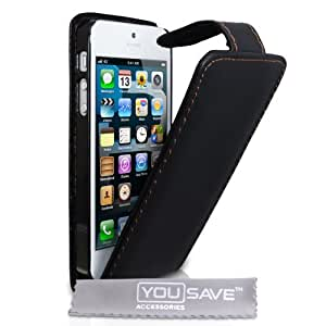 Yousave Accessories PU Leather Flip Case for iPhone 5 - Black
