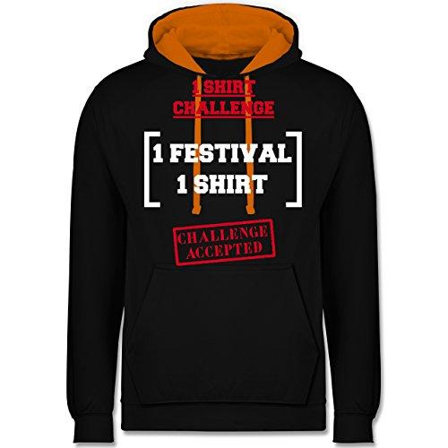 Festival - 1 Shirt Festival Challenge - Kontrast Hoodie Schwarz/Orange